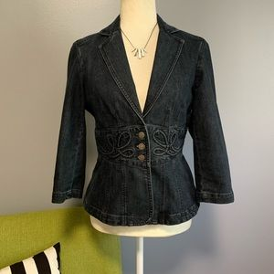 Nine West Jean Jacket with Embroidered Waist D6